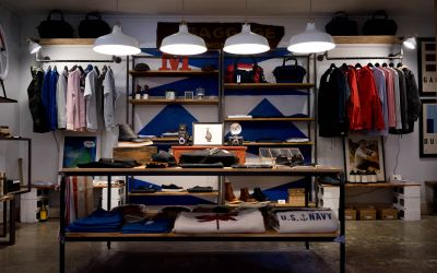 Retail display rack with folded and hanging clothing
